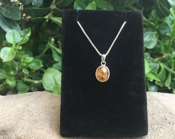 """Citrine Sterling Silver Pendant with 16"""" Box Chain, Citrine Necklace, Yellow Citrine Stone"""