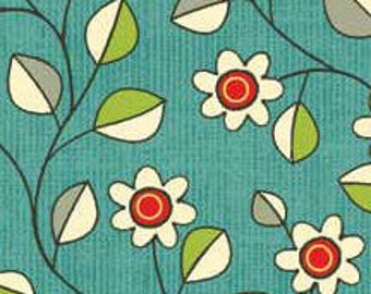 Red Rooster Victory by Gudrun Erla of GE Designs in Turquoise; 1/2 yard woven cotton fabric