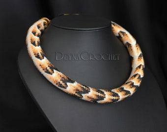Bead Crochet Rope necklace - Office necklace - Casual necklace - Python - Snake nekclace - Bitis Arietans