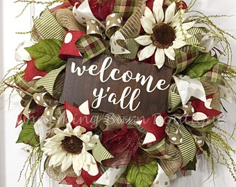Welcome Y'all Wreath, Welcome Wreath, Year Round Wreath, Fall Wreath, Sunflower Wreath, Autumn Wreath, Front Door Wreath, Fall Decor