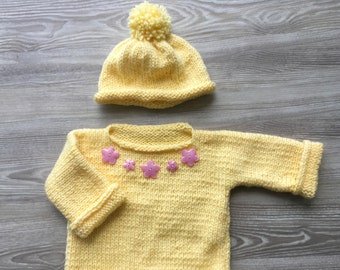 Infant Sweater,Baby Sweater and hat,  Infant Sweater and hat , Hand Knit Sweater and hat