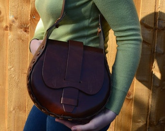 80s leather satchel handbag