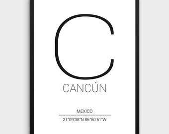Cancun Printable Poster | Cancun Poster, Cancun Coordinates Print, Coordinates City Poster,Minimal Chicago Print, Instant Download