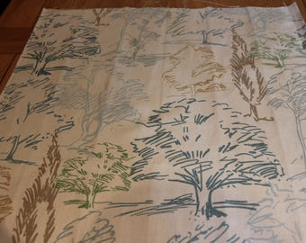 Sanderson home decor fabric, 65 cm wide x 87cm drop, duck egg blue, taupe and cream colours, tree sketches, remnant fabric