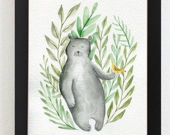 Bear and Bird Illustration Print from Original watercolor Wall Art