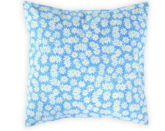 Blue daisies pillow cover - Floral blue pillow cover - Blue white throw pillow