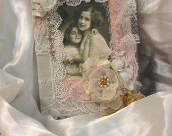 Premade Handmade Scrapbook Fabric Cover Mother's Journal Album Notebook