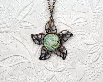 Copper Star Pendant with Green Succulent Cabochon
