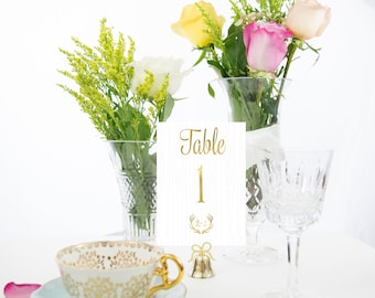Rustic Wood Gold Foil Table Numbers Handmade Wedding