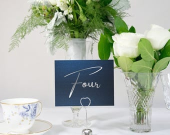 Silver Foil and Shimmer Navy Table Numbers, Also available in Rose Gold Foil, Silver, Copper Foil Style #0115