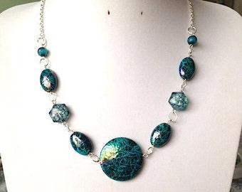 Aqua Ripple Bead and Chain Statement Collar Bib Necklace
