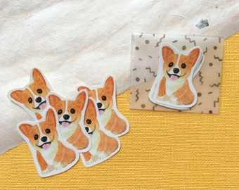 Watercolor Corgi Sticker Pack (5 in one pack)