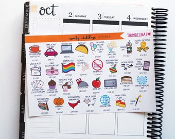 October 2017 Wacky Holidays Planner Stickers