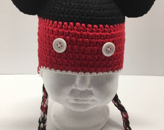 Mouse crochet hat, mouse hat, red  crochet hat with ear flaps