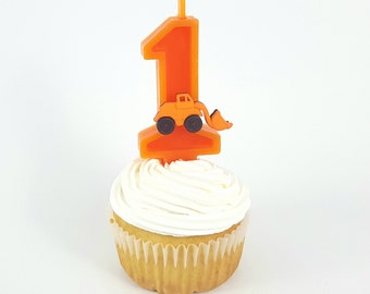 Construction  Birthday Number Candle