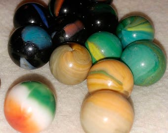vintage marbles, not new, interesting collection of 13 some aggies