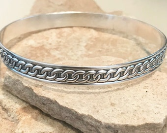 Sterling silver patterned bangle bracelet, pattern bangle bracelet, stackable sterling silver bracelet, sterling silver bangle patina bangle