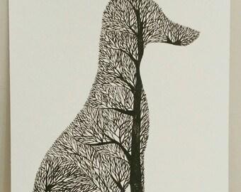 Tree Fox Silhouette II