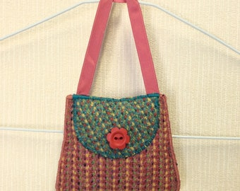 Welsh tweed lavender bag, lavender sachet in pink, red & green with red ribbon handle