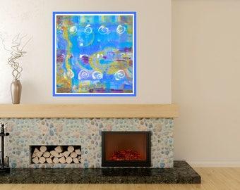 Giclée Canvas Print, Contemporary Art, Fine Art Print, Modern Painting, Wall Art, blue yellow Abstract Art, Print Painting, Print Original