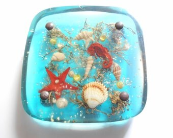 french Mat  dish, resin inclusion, underwater decoration, 1970s