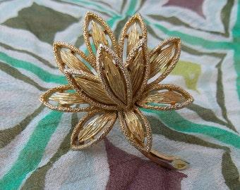 Glistening Vintage Gold tone Floral Brooch Signed Avon