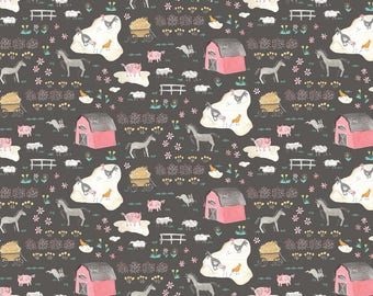 QUILTING COTTON: Blend Tiny Farm in Gray Fabric. Sold by the 1/2 yard