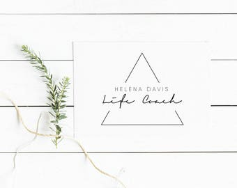 Rose Gold Triangle Custom Logo, Premade Branding Kit, Boutique blogger logo, Photography logo, Feminine logo design, Geometric logo, 001