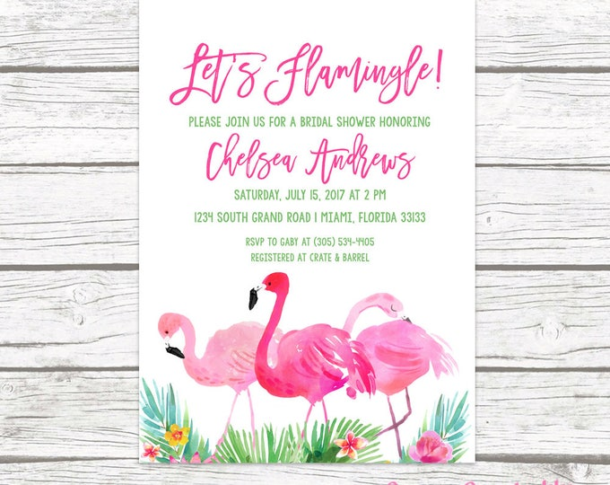Flamingo Bridal Shower Invitation, Let's Flamingle Bridal Shower Invitation, Tropical Bridal Shower Invitation Printable, Pink and Green