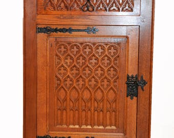 Nice Small Vintage Gothic Cabinet with Forged Iron Hardware, 1930's #5955