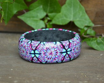 Boho Bangle, Boho Bracelet, Boho Jewelry, Psychedelic Bangle, Polymer Clay Bangle, Bohemian Style, Boho Chic, Statement Jewelry,