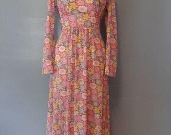 Vintage Hippie Dress 60's Floral Print Maxi Dress Handmade 1960's Flower Child Boho Long Sleeves Bohemian Festival Peasant Dress Woodstock