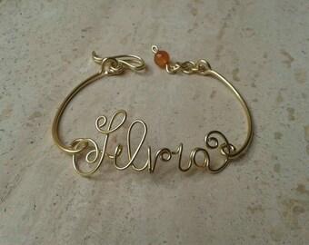 Bracelet Custom Name in brass