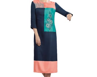 Indian Pakistan Bollywood Designer Kurta Kurti Designer Women Ethnic Teal Blue Colored Modal kurtis kurta Top Tunic Kurta women kurti top