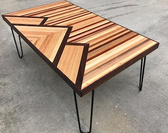 Reclaimed Wood Coffee Table Geometric Design Modern Coffee Table Industrial Furniture Free