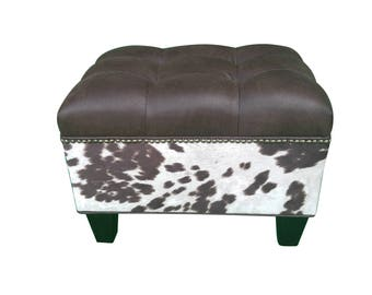 """24"""" Tufted VEGAN Leather and Cowhide Ottoman"""