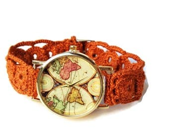 World map watch women world map wrist watch world map world watch women world map watch map of the world watch crochet bracelet gumiabroncs Image collections