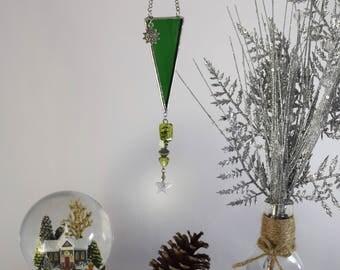Green Suncatcher Mirror, Glass Sun Catcher for Car Decor Gift, Star Ornament, Rainbow Crystal Suncatcher, Gift for BFF