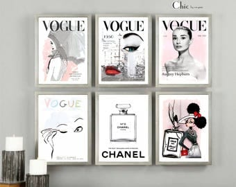Chanel Prints, Vogue Posters, Audrey Hepburn, Set Of 6 Chanel, PRINTABLE, Fashion Wall Art, Gift For Her, Home Decor, Art Prints