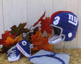 Baby football hat and shoes, Newborn FOOTBALL hat, Baby shoes,, New York GIANTS Inspired (Handmade by me and not affiliated with the NFL)