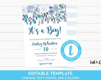It's a Boy Baby Shower Invitation Template - Templett Baby Shower - Boy Baby Shower Invitation - Watercolor Baby Shower Invitation - Digital