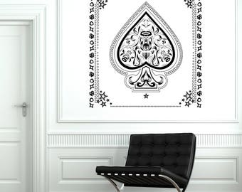 Wall Vinyl Decal Aces of Spades with Flowers Pattern black white Decor Living Room and Casino (#2689dn)