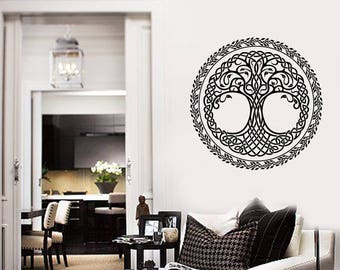 Celtic Tree Vinyl Wall Decal Leaves Ornament Room Decoration Art Stickers Mural (#2614di)