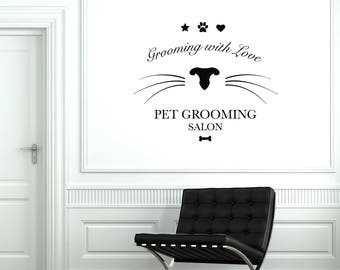 Grooming Salon Vinyl Wall Decal Pet Care Beauty Decor Stickers Mural (#2648di)