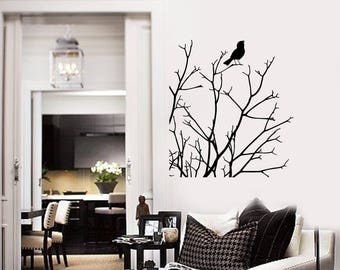 Branches Bird Vinyl Wall Decal Nature Art Tree for Any Room Home Decor Stickers Mural (#2668di)
