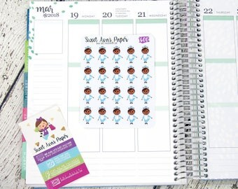 Period Planner Stickers | Cailynn | Shark Week Stickers | Shark Costume | Period Stickers | Character Stickers | Darker Skin Tone | 600