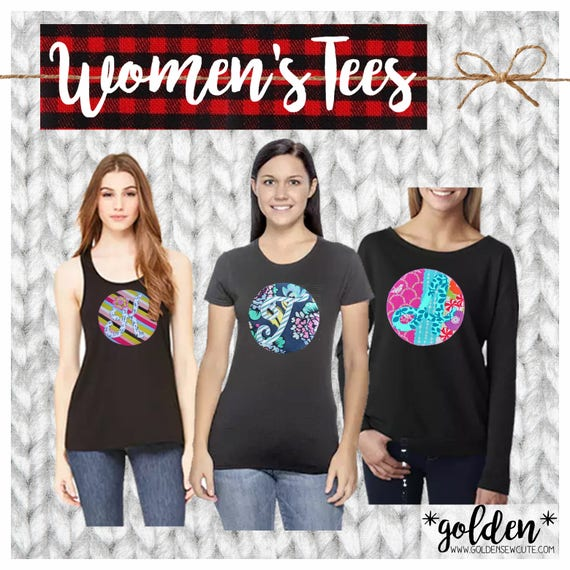 CYBER MONDAY 2017 SALE!  Women's Applique Initial or Number Short Sleeve, Ladies Tank, Fleece Off-Shoulder, Custom, Personalized, Initial