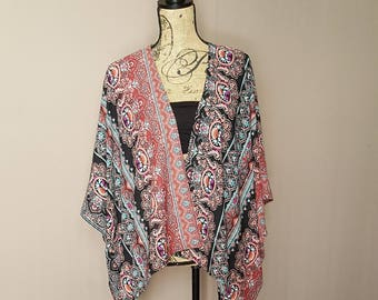 Sale! Semi-Sheer Middle Eastern Print Cropped Kimono Cardigan