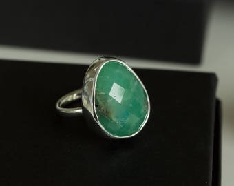 Beautiful Chrysoprase Ring, Rose Cut Chrysoprase, Gemstone Ring, Natural Chrysoprase, Green Gemstone, Chrysoprase Jewelry