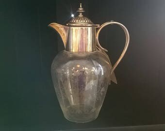 Claret Jug - Silver plate and etched glass